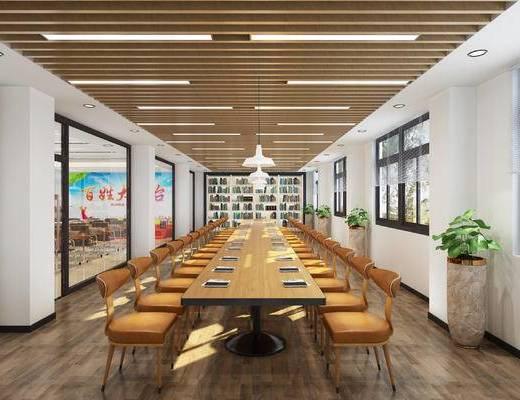 阅读室, 桌椅组合, 书柜, 书籍, 吊灯, 植物