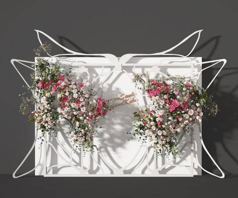 现代花艺背景墙