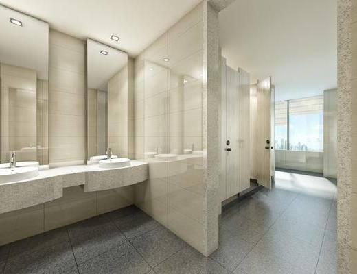 公共卫生间, 洗手台, 现代简约