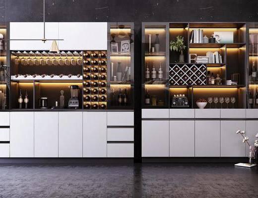 酒柜, 裝飾柜, 酒瓶吊燈, 現代