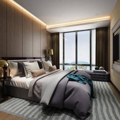 现代卧室, 现代, 卧室, 床, 现代台灯, 床头柜