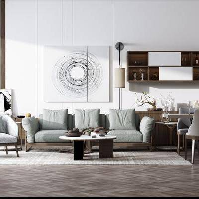 沙发组合, 多人沙发, 单人沙发, 茶几, 餐桌, 餐椅, 单人椅, 餐具, 边几, 装饰画, 挂画, 壁灯, 置物架, 边柜, 摆件, 装饰品, 陈设品, 现代