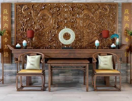 洽谈桌, 办公桌, 背景墙, 边几, 摆件组合