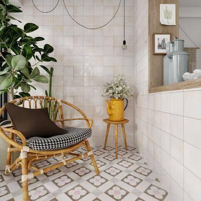 阳台, 露台, 单椅, 盆栽植物, 摆件组合