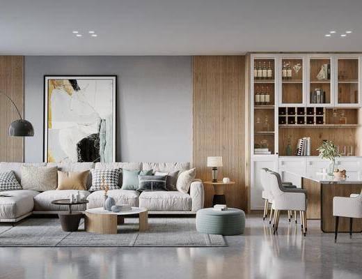 沙发组合, 装饰画, 抱枕, 茶几, 餐桌, 酒柜