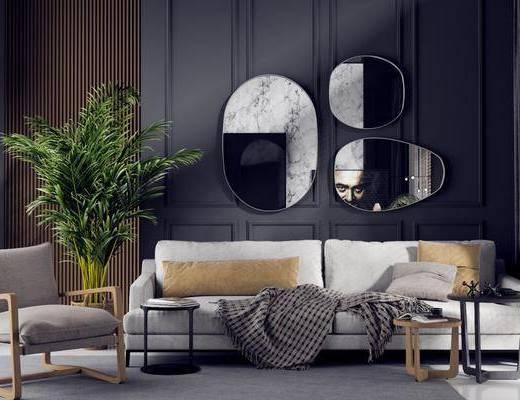 沙发组合, 茶几, 墙饰, 单椅, 盆栽植物