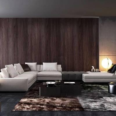 Minotti, 客厅, 意大利, 现代, 沙发组合, 多人沙发, 转角沙发, 茶几, 沙发茶几组合