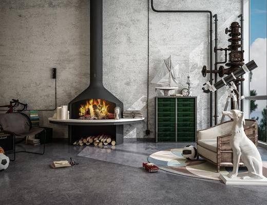 壁炉, 单椅, 边柜, 盆栽植物