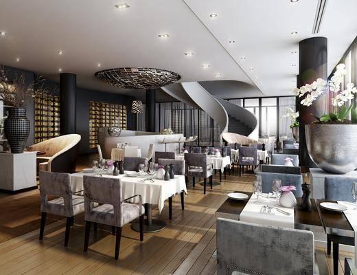 餐厅, 餐桌, 餐椅, 单人椅, 摆件, 装饰品, 陈设品, 吧台, 吧椅, 现代