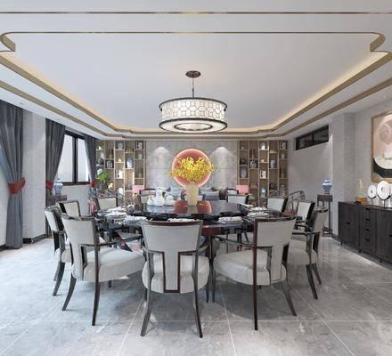 包间, 餐桌, 桌椅组合, 吊灯, 墙饰, 边柜, 摆件组合