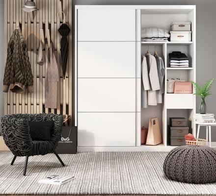 北欧, 衣柜, 椅子, 衣服, 边几, 盆栽, 书本, 衣架