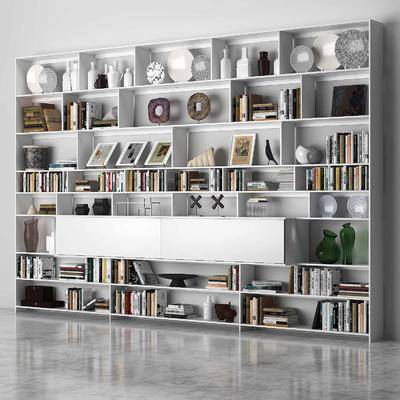 书柜, 现代书柜, 装饰柜, 书籍, 摆件, 装饰品, 组合, 现代