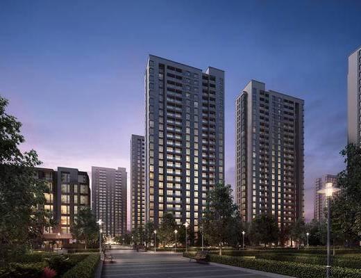 大厦, 建筑, 夜景, 外观, 外景, 现代