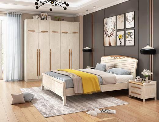 单人床, 装饰画, 衣柜, 吊灯, 床头柜, 地毯