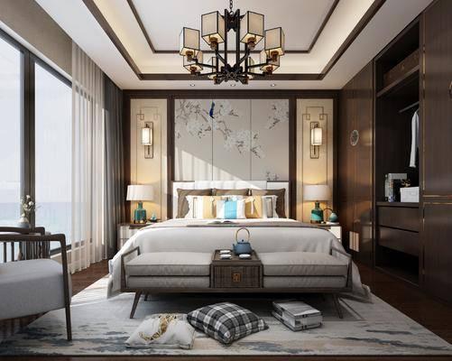 新中式卧室, 新中式吊灯, 新中式壁灯, 吊灯, 壁灯, 新中式台灯, 台灯, 单人椅, 新中式衣柜, 衣柜, 床具, 双人床, 床尾踏