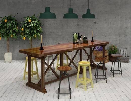 吧台, 吧椅, 桌椅, 椅子, 植物, 盆栽, 吊灯, 工业风