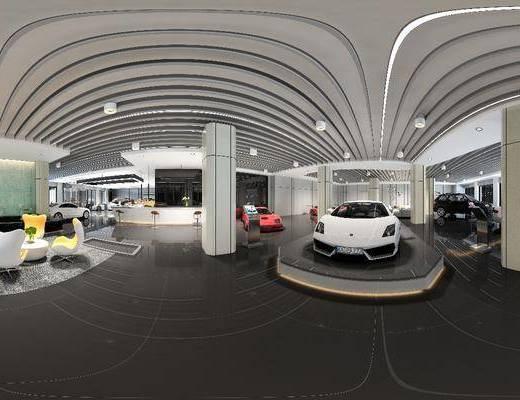 全景图, 现代汽车销售中心, 汽车, 大厅