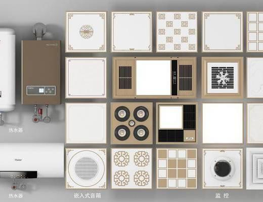 铝扣板, 吊顶浴霸, 热水器, 排风扇, 筒灯, 射灯组合, 现代
