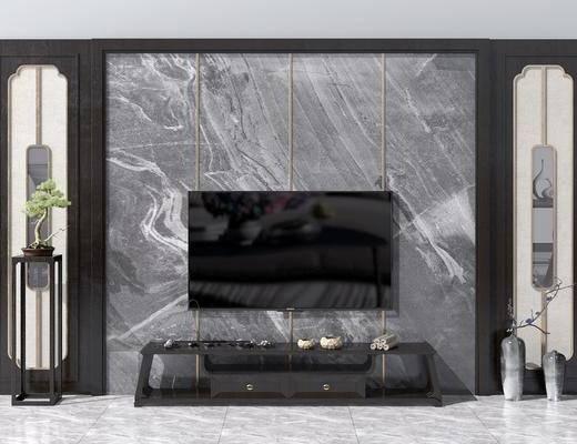 电视背景墙, 边几, 电视柜, 边柜, 装饰架, 盆栽, 花瓶花卉, 新中式
