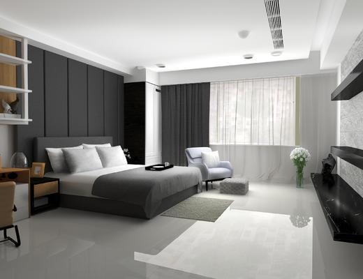 卧室, 床, 单人沙发, 沙发, 床头柜, 现代卧室
