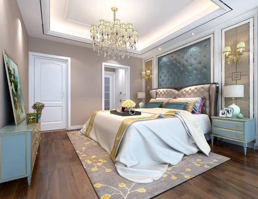 电视柜, 双人床, 壁灯, 床头柜, 台灯, 地毯
