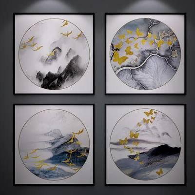 中式挂画, 中式装饰画, 中式山水画, 中式水墨画, 新中式, 挂糊, 装饰画