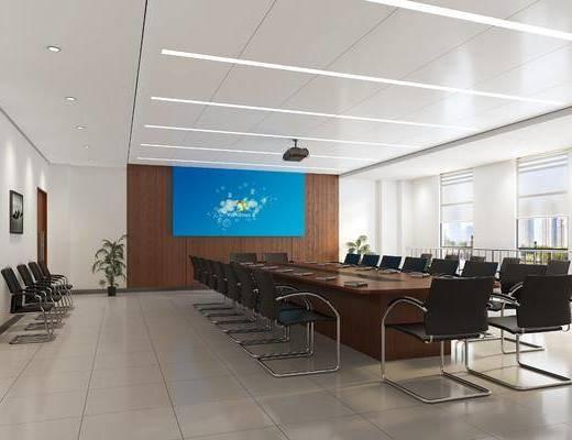 会议室, 现代会议室, 会议桌, 单椅, 桌椅组合, 现代