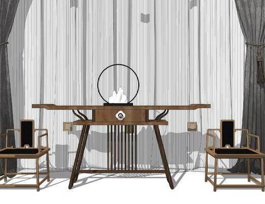 端景台, 摆件组合, 单椅, 窗帘