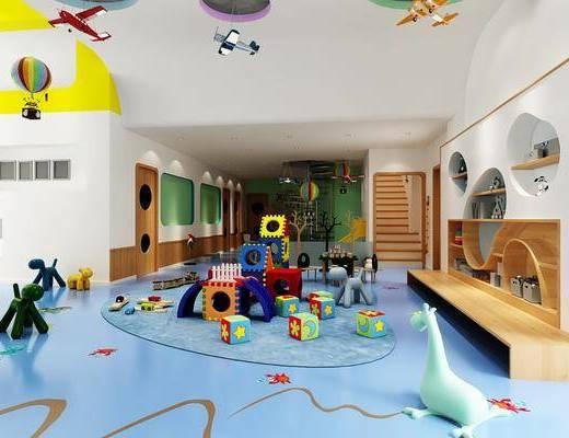 幼儿园, 娱乐大厅, 积木, 玩具, 现代