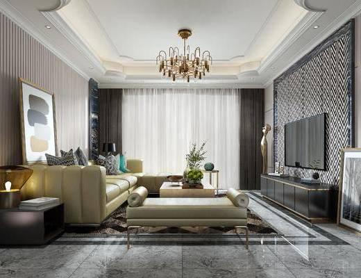 现代, 客厅, 多人转角沙发, 沙发凳, 茶几, 边几, 台灯, 电视柜, 吊灯, 摆画