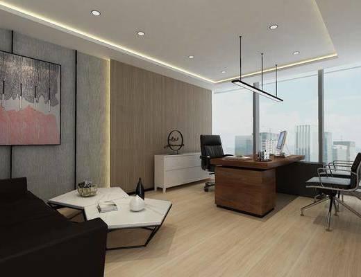 经理室, 办公室, 办公桌, 办公椅, 单椅, 挂画, 装饰画, 边柜, 摆件, 装饰品, 吊灯, 边几, 茶几, 沙发, 现代