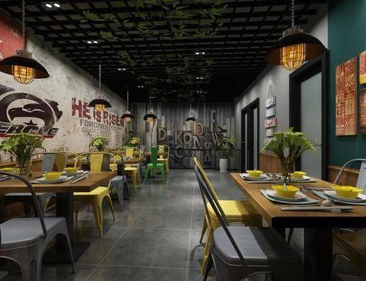 餐厅, 餐桌, 餐椅, 单人椅, 装饰画, 挂画, 吊灯, 照片墙, 圆桌, 装饰柜, 边柜, 盆栽, 摆件, 装饰品, 陈设品, 工业风