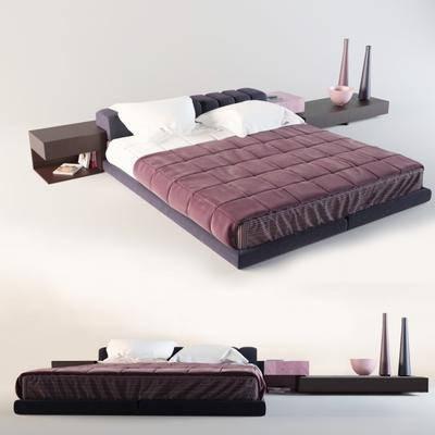 双人床, 床具, 床头柜, 现代
