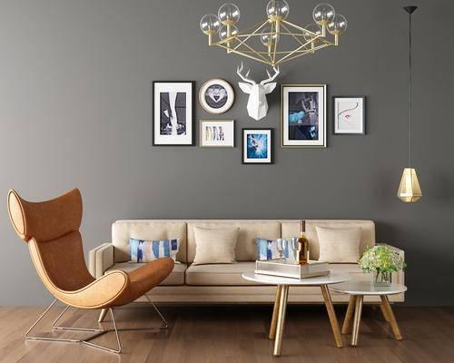 沙发组合, 沙发, 椅子, 茶几, 装饰画, 吊灯, 现代