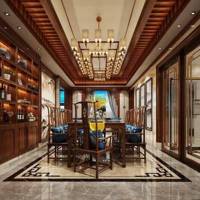 餐厅, 酒柜, 餐桌, 餐椅, 吊灯, 摆件, 中式