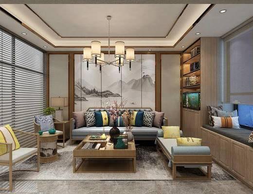沙发组合, 茶几, 单椅, 吊灯, 背景墙, 办公室, 办公桌