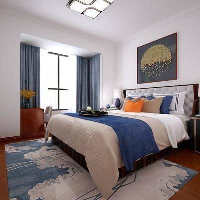 卧室, 床具, 双人床, 挂画, 装饰画, 床头柜, 台灯, 书桌, 单椅, 椅子, 新中式