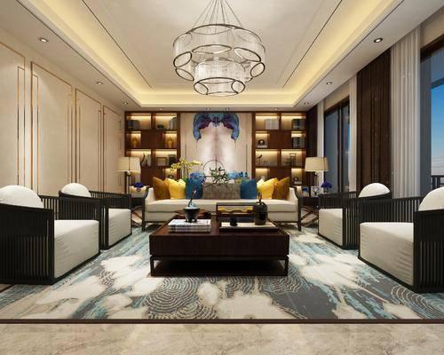 新中式客厅, 新中式, 中式沙发, 客厅, 茶几, 装饰柜