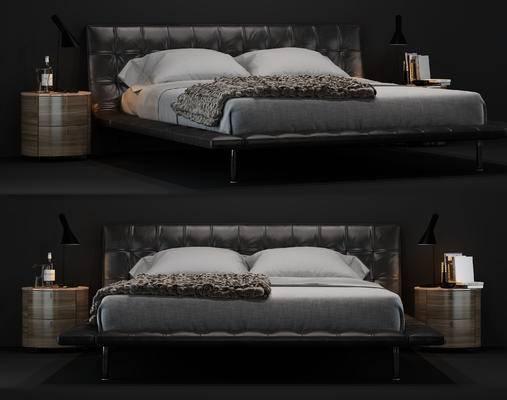 现代, 双人床, 床头柜, 台灯, 摆件