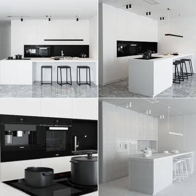 厨房, 橱柜, 洗手台, 餐具, 厨具, 吊灯, 大理石, 现代