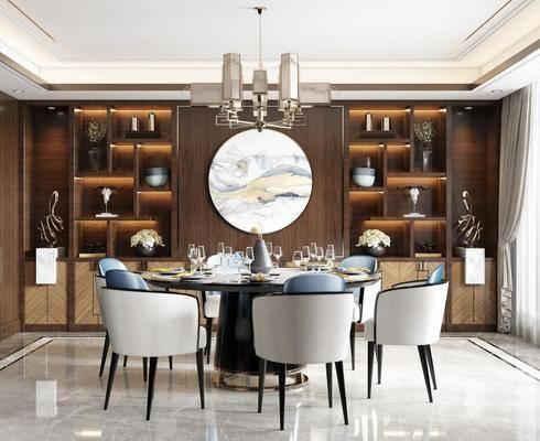 餐桌, 桌椅组合, 餐具组合, 墙饰, 吊灯, 酒柜, 装饰品