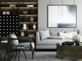 现代港式沙发、茶几组合, 装饰画, 置物柜, 摆件组合