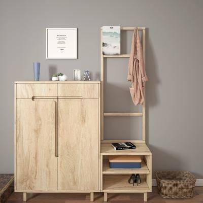 鞋柜, 北欧鞋柜, 摆件, 装饰画, 衣服, 北欧