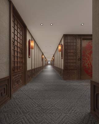 酒店过道, 电梯厅, 壁灯, 中式