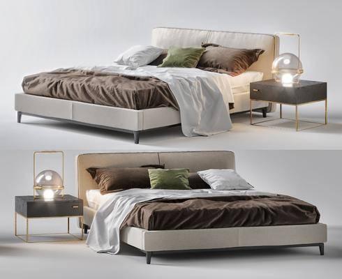 双人床, 床头柜, 床头灯, 抱枕