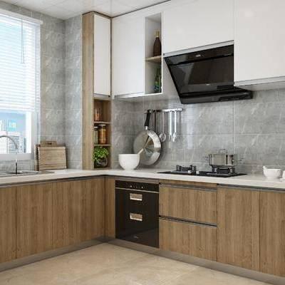现代, 厨房, 橱柜, 厨具, 冰箱, 烤箱, 水龙头, 盆栽, 陈设品, 摆件