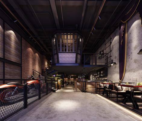 主题餐厅, 多人沙发, 餐桌, 餐椅, 单人椅, 餐具, 吊灯, 摩托车, 前台, 吧台, 吧椅, 工业风