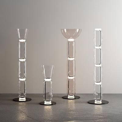 现代玻璃管状落地灯