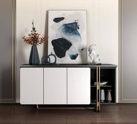 边柜, 电视柜, 摆件组合, 装饰画