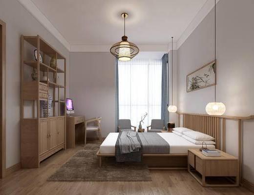双人床, 吊灯, 衣柜, 书桌